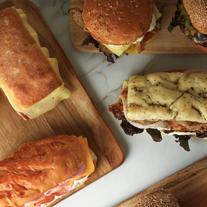 Panes para sanduches y hamburguesas